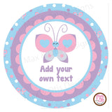 "Printable 2"" Tags & Labels - Butterfly Party (Editable PDF) - Max & Otis Designs"