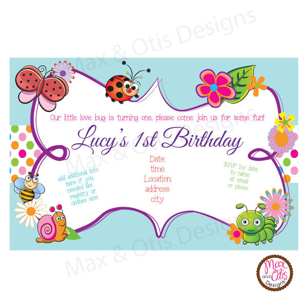 Butterfly Party - Custom Invitation Printable - Max & Otis Designs