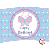 Printable Cupcake Wrappers - Happy Birthday Butterfly - Max & Otis Designs