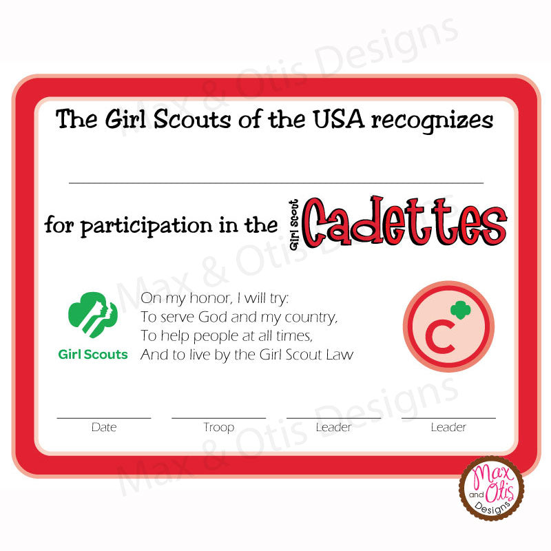 This is an image of Gutsy Girl Scouts Certificates