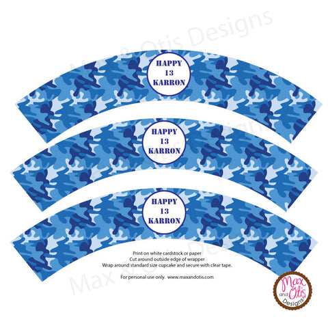 Printable Cupcake Wrappers - Blue Camouflage (editable PDF) - Max & Otis Designs