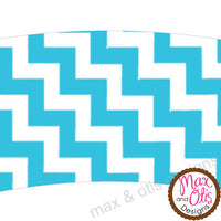 Printable Cupcake Wrappers - Blue Chevron - Max & Otis Designs