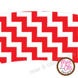 Printable Cupcake Wrappers - Red & White Chevron - Max & Otis Designs