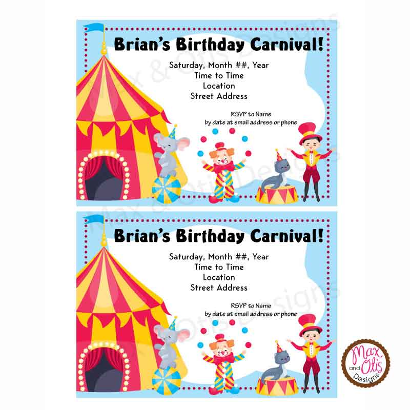 photograph regarding Carnival Printable identify Carnival Circus Bash - Tailor made Invitation printable