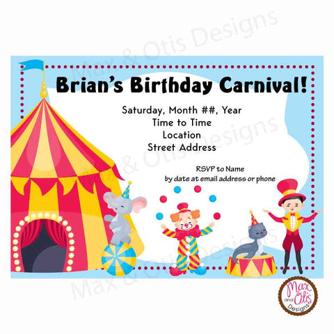 Carnival Circus Party - Custom Invitation printable - Max & Otis Designs