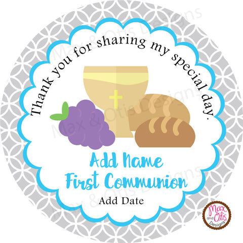 "Printable 2"" Tags & Labels - Communion Baptism (Editable PDF) - Max & Otis Designs"