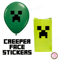 photograph about Creeper Face Printable named Minecraft Creeper Balloon Stickers Max Otis Types