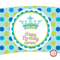 Printable Cupcake Wrappers - Crown Blue & Green Dot (editable PDF) - Max & Otis Designs