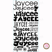 Custom Permanent Adhesive Vinyl - Name Decals (Full-sheet) - Max & Otis Designs