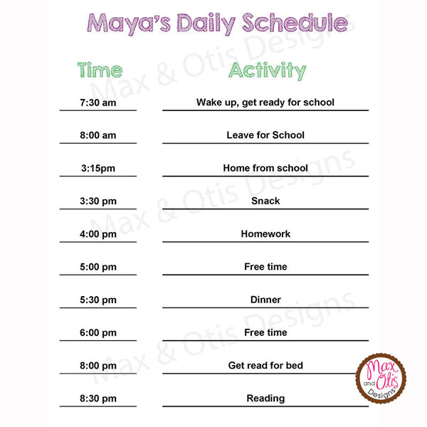 Printable Children's Daily Schedule (Editable PDF) - Max & Otis Designs