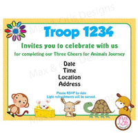 Girl Scout Daisy Animal Journey Invitation (editable PDF) - Max & Otis Designs
