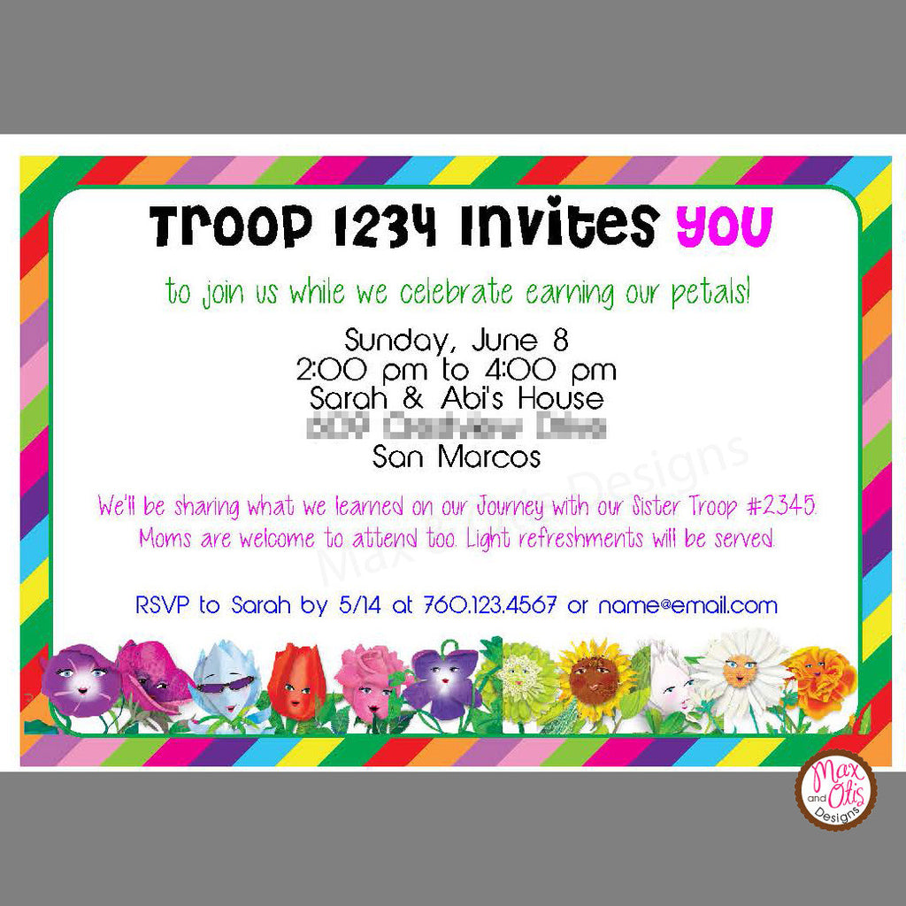 Girl Scout Daisy Garden Journey Invitation (editable PDF) - Max & Otis Designs