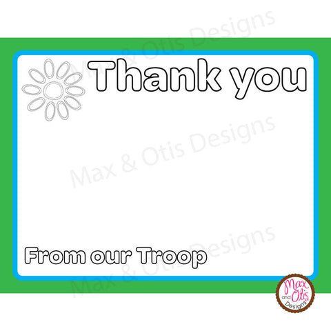 Girl Scout Daisy Thank You Card Printable (editable PDF) - Max & Otis Designs