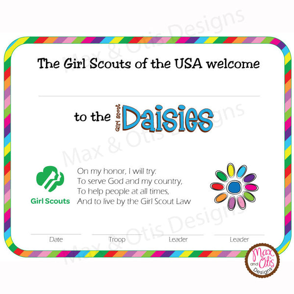 Girl Scout Daisy Printable Investiture Certificate (editable PDF) - Max & Otis Designs