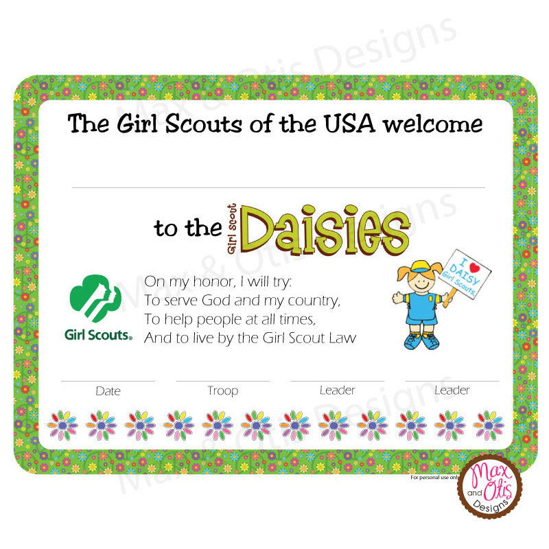 This is a photo of Crush Girl Scout Certificate Templates