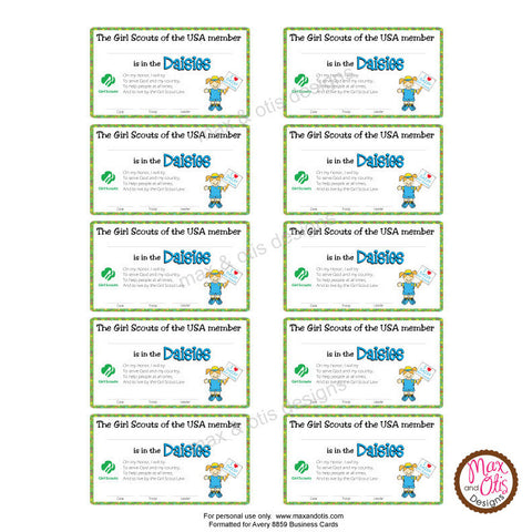 ... Girl Scout Daisy Printable Membership Cards (editable PDF)   Max U0026 Otis  Designs  Printable Membership Cards