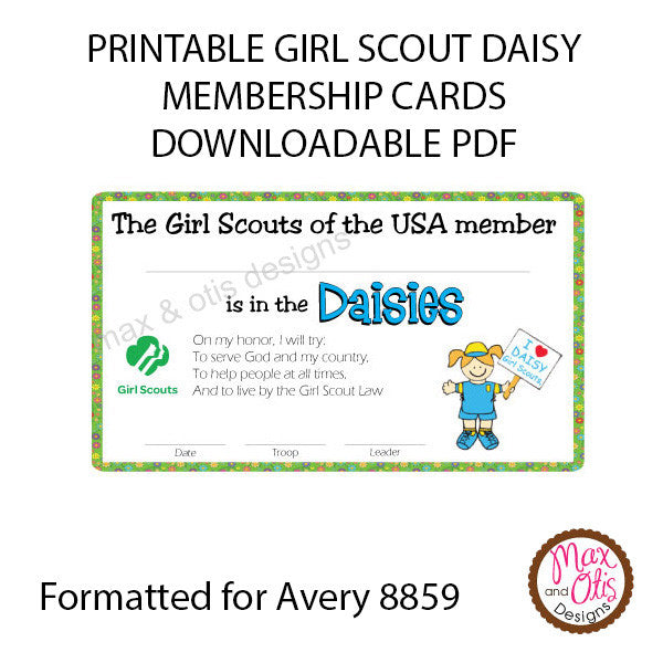 image about Printable Membership Cards named Female Scout Daisy Printable Subscription Playing cards (editable PDF)