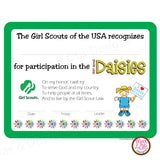 Girl Scout Daisy Printable Participation Certificate (editable PDF) - Max & Otis Designs