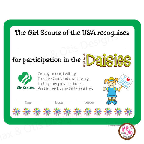 girl scout daisy printable participation certificate editable pdf