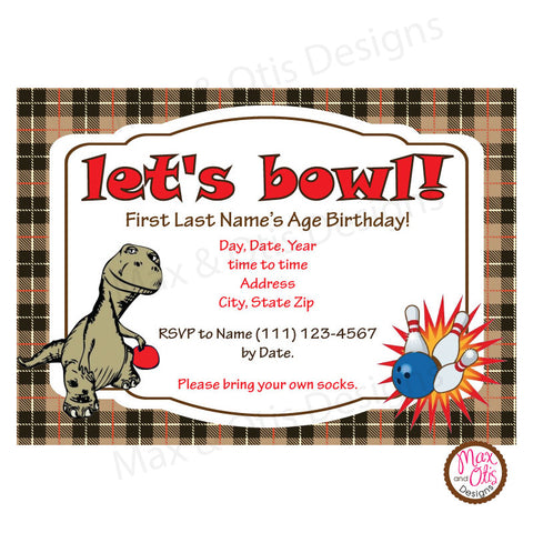 Bowling Party Invitation - Dinosaur (editable PDF) - Max & Otis Designs