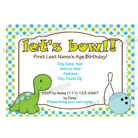 Dinosaur Bowling Jr. Party - Custom Invitation Printable - Max & Otis Designs