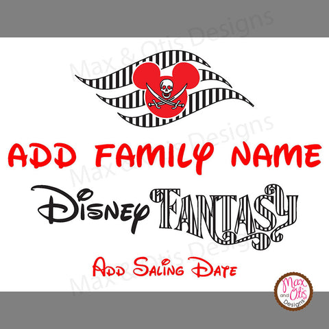 Disney Fantasy Cruise Printable Door Sign Magnet  - Editable PDF