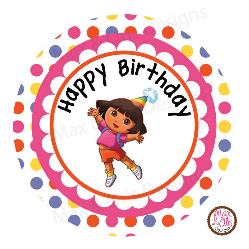 "Printable 2"" Tags & Labels - Dora the Explorer Happy Birthday"