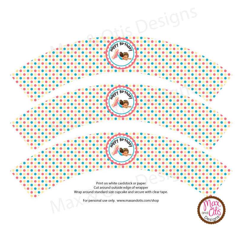 Printable Cupcake Wrappers - Dora the Mermaid Birthday (Editable PDF)
