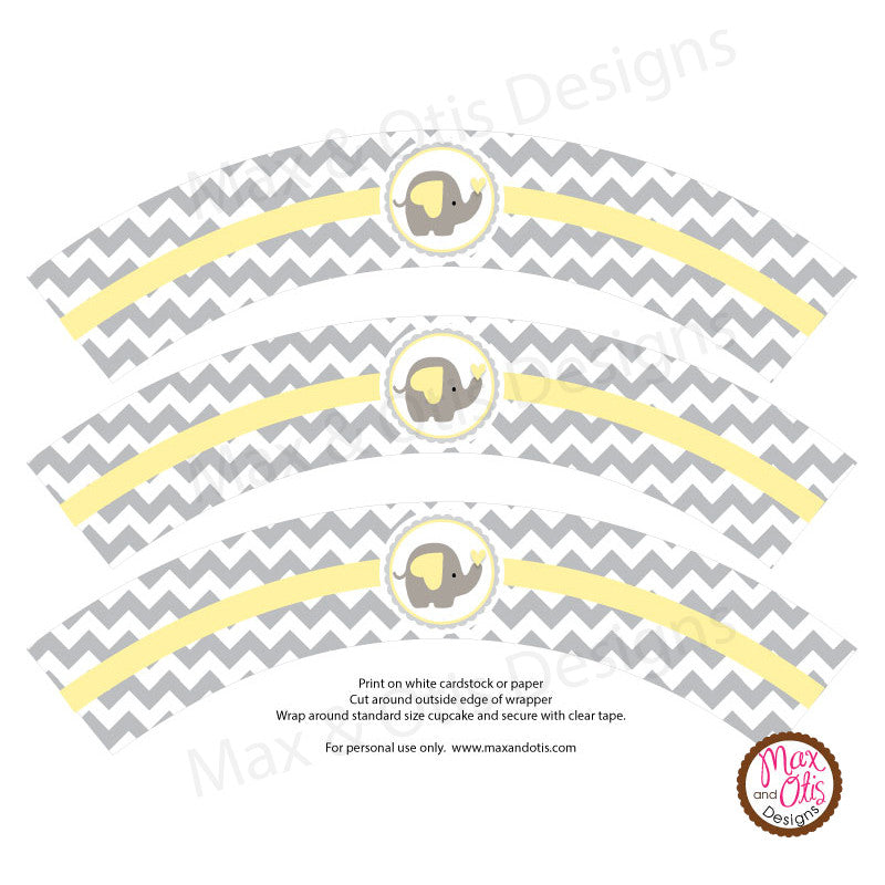 Printable Cupcake Wrappers - Elephant - Max & Otis Designs