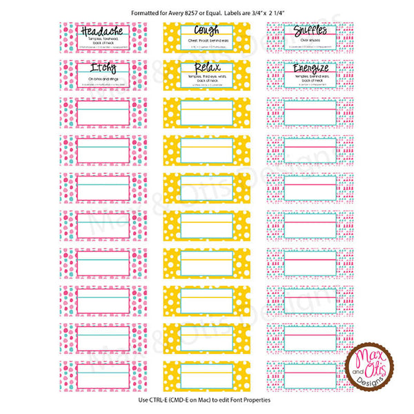 "Printable 3/4"" Stickers & Labels - Essential Oil 3 mL ..."