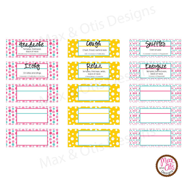 graphic about Printable Essential Oil Labels called Printable 3/4\