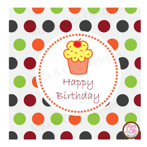 "Printable 2"" Tags & Labels - Happy Birthday Cupcake"