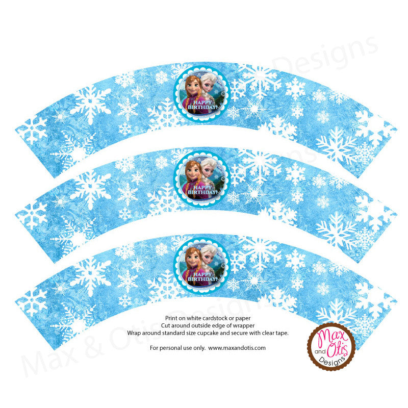 Printable Cupcake Wrappers - Happy Birthday Frozen (Elsa & Anna)