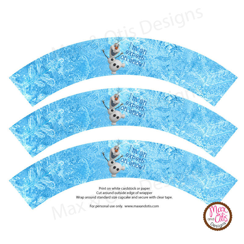Printable Cupcake Wrappers - Frozen (Olaf) - Max & Otis Designs