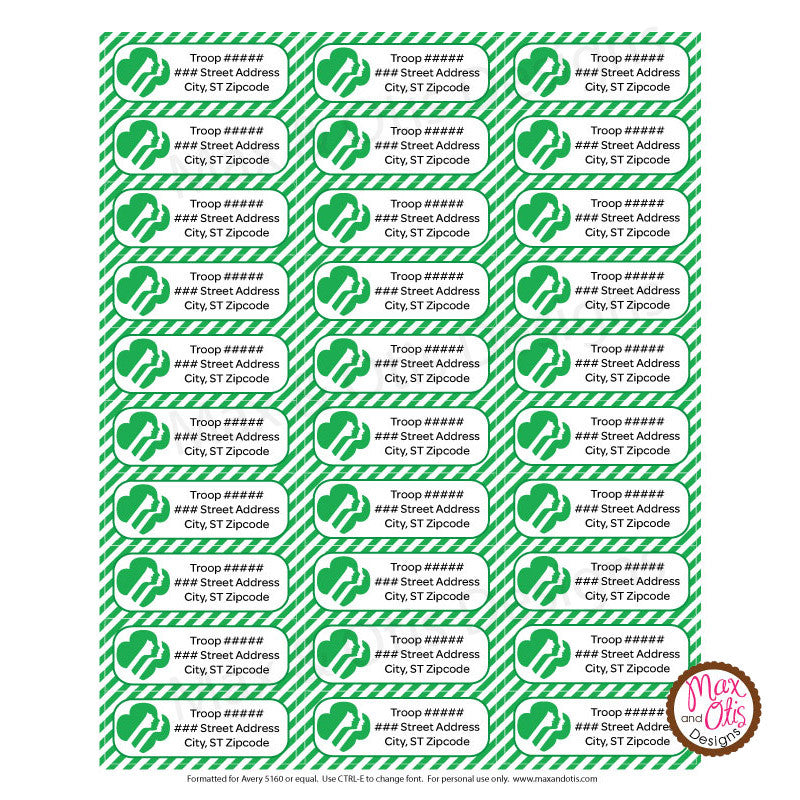 Girl Scout Printable Address Labels (editable PDF) - Max & Otis Designs