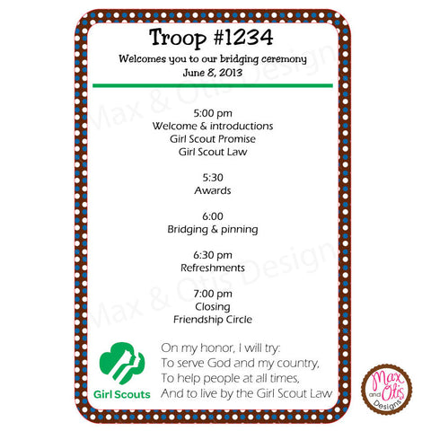 Girl Scout Brownie Bridging Program (editable PDF)