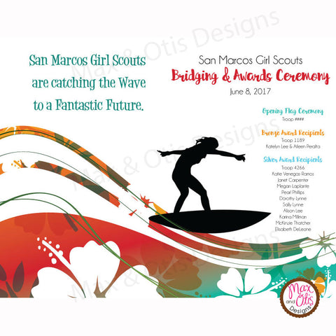 Girl Scout Bridging Program - Surfing Theme