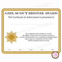Girl Scout Junior Printable Bronze Award Certificate (editable PDF) - Max & Otis Designs
