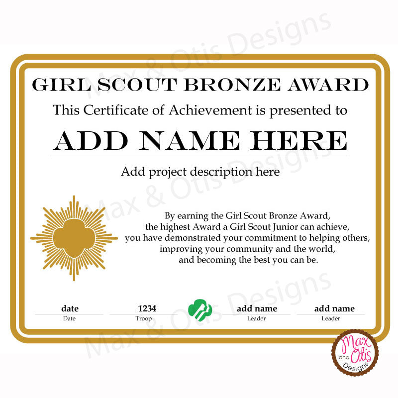 Girl Scout Junior Printable Bronze Award Certificate Editable Pdf