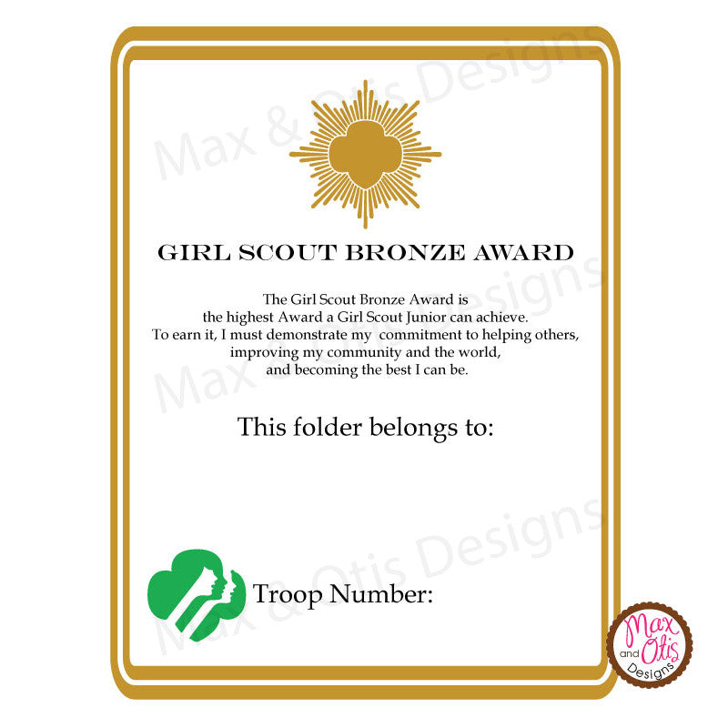 Girl Scout Junior Printable Bronze Award Folder Cover (editable PDF) - Max & Otis Designs