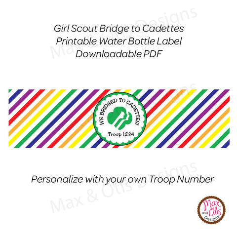 Girl Scout Cadette Bridging Water Bottle Label (editable PDF) - Max & Otis Designs