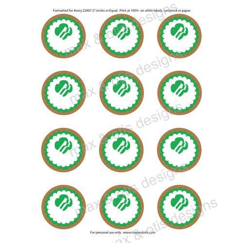 Girl Scout Printable Round Tags - Brownie (editable PDF) - Max & Otis Designs