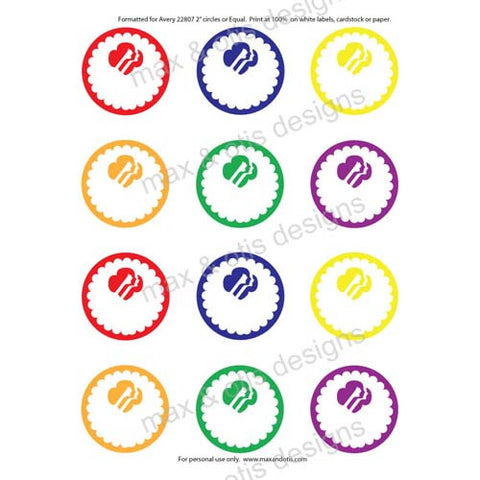 Girl Scout Printable Round Tags - Rainbow (editable PDF) - Max & Otis Designs
