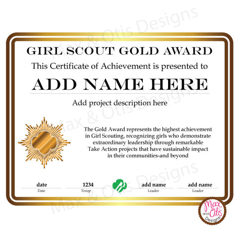 Girl Scout Cadette Printable Gold Award Certificate (editable PDF)