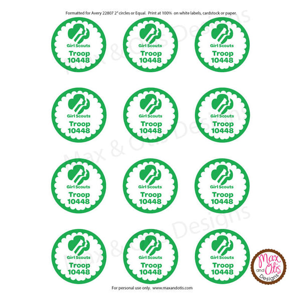 graphic regarding Printable Round Tags identify Female Scout Printable Spherical Tags - Eco-friendly (editable PDF)