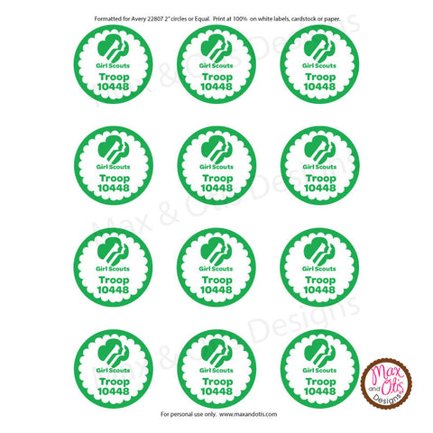Girl Scout Printable Round Tags - Green (editable PDF) - Max & Otis Designs