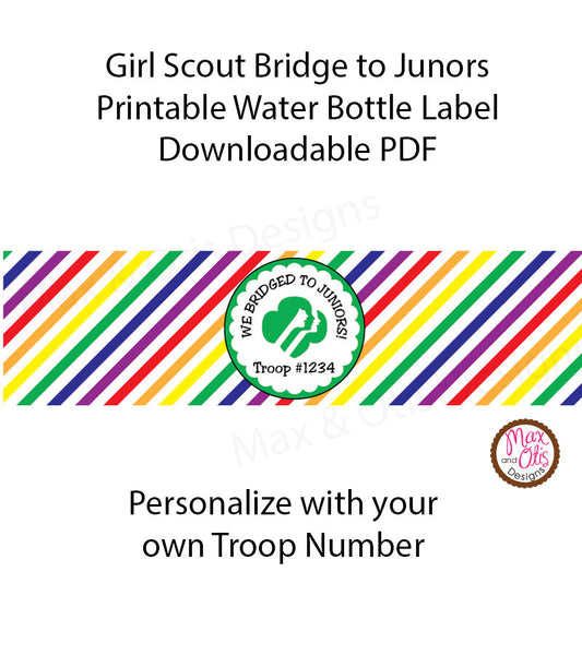 Girl Scout Junior Bridging Water Bottle Label (editable PDF) - Max & Otis Designs