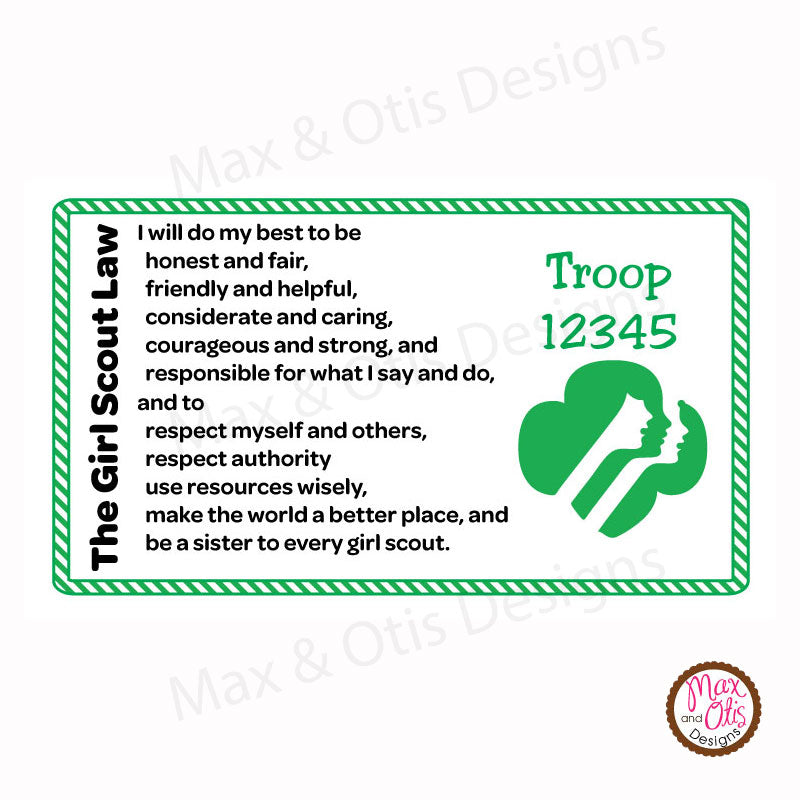 photograph about Scout Law Printable titled Female Scout Printable Legislation Playing cards (editable PDF)