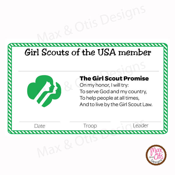 Girl Scout Printable Membership Cards (editable PDF) - Max & Otis Designs