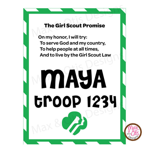 Girl Scout Printable Promise Name Badge